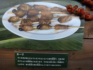 幼虫の串焼き