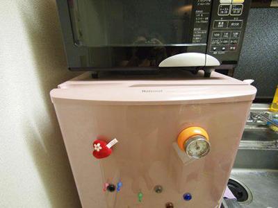 ピンクの冷蔵庫