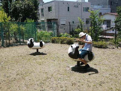 夏の公園で遊ぶ子供に暑くないのか聞く