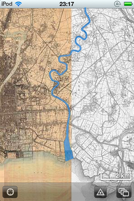 みんな大好き『時層地図』による明治の終わり頃の中川。荒川が影も形もない!(「時層地図」に着色)