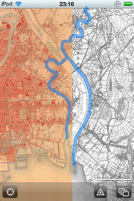 引き続きみんな大好き『時層地図』による関東大震災直前頃の地図。なんとちょうど荒川放水路作ってるところだ!(「時層地図」に着色)