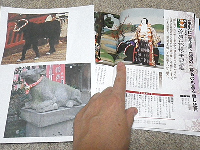 傑作という「菅原伝授手習鑑」に、牛の出てくるシーンが。出典「一冊でわかる歌舞伎名作ガイド50選」(成美堂出版)。