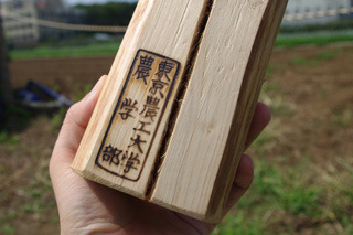 ヒノキ細工には焼印が入る。かっこいい。