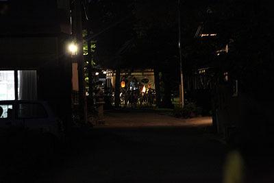 参道から境内を見ると、炎がチラチラと見え、人も集まっていた。