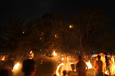 ほとんどのたいまつは引っかからずに下に落ちるが、木の下には人がいて外れたたいまつを回収、再度投げる。木の下もかなり火の粉が降ってくるのだが。