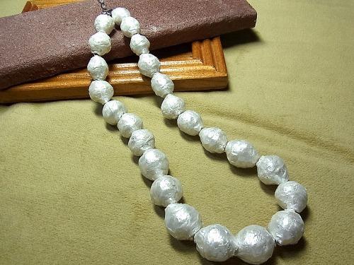 座布団真珠のネックレス、できました!