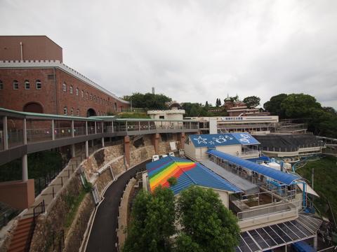 表玄関側から。「手柄山交流ステーション」として生まれ変わった、旧駅舎(左側)。右側は市営水族館。