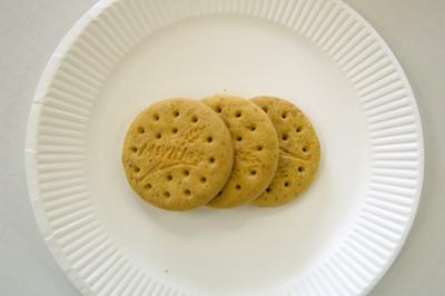 粉々作戦、続いては「マクビティ ダイジェスティブビスケット」。これはもしかして知らない人が多いお菓子でしょうか。1袋に3枚入っていて、栄養補助系お菓子(カロリーメイトとか)のように腹にたまるうえ素朴な味です