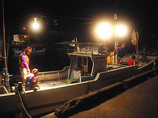 観光船などではなく、バリバリの漁船に分乗。釣り船にはよく乗るけれど、夜に出船というのはあまりないのでウキウキだ。