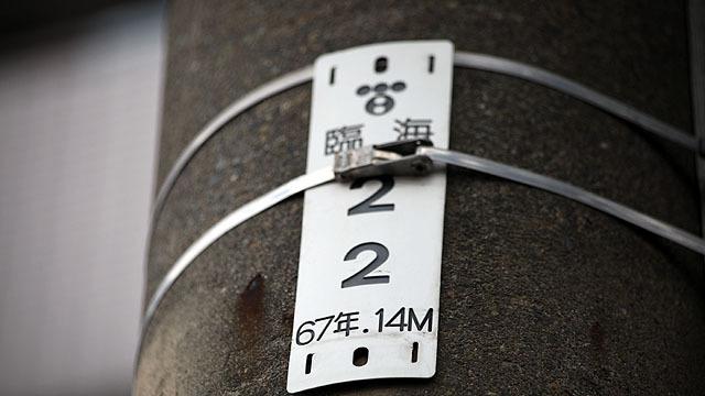 これは1967年に建てられた14mの電柱で、東電の物という意味。