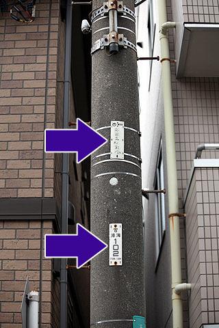 東電の方が下にあるのでこれは東電の電柱。