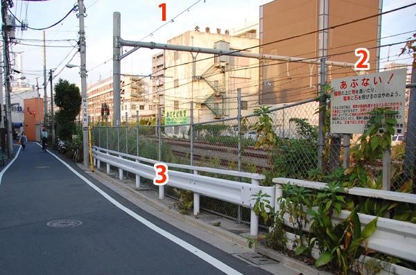 痕跡まとめ。1)自動車の高さ制限を示す「スパン線」 2)踏切注意標 3)ガードレールがここだけ新しい