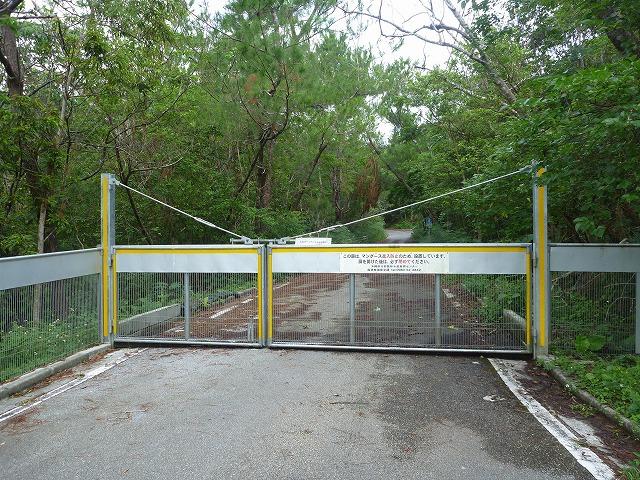 マングース対策として林道も通常封鎖されており、通行の際はその都度開閉を行う。
