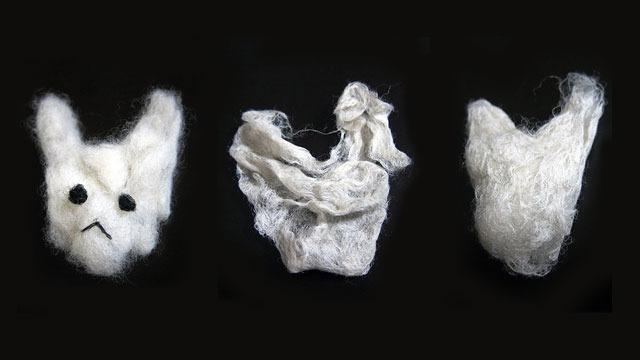 左からヘアワックス、ムース、ジェルを使ったウサギ