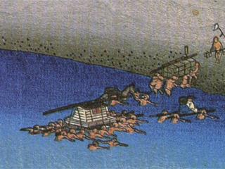 大井川の川渡り。(歌川広重・「東海道五十三次・金谷」より)