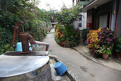 小湊の某所、井戸と花が良い感じの路地です。