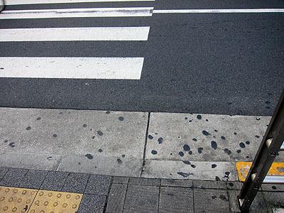横断歩道の横もかなりのガムぼくろスポット。待ってる間に吐き出すのかな。ちなみに具体的に言うと、葛西駅前のブックオフの前辺りです。