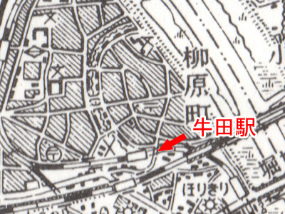 川がこのころまではあったのだ(「東京東北部 5万分1地形図」国土地理院・昭和29年応急修正)