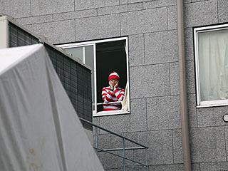 たまにこうして窓から顔を出すのが彼の仕事。