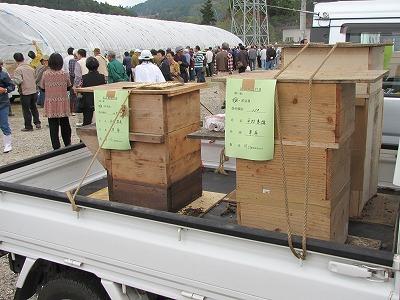 会場のはずれには大きな木箱を荷台に積み込んだ軽トラックがたくさん停められていた。