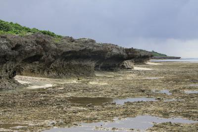 海岸は、波でえぐられたキノコ型の地形が続く