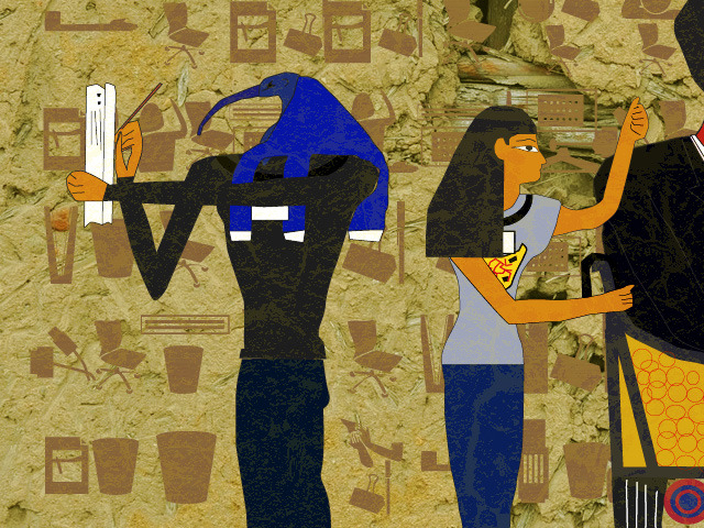 安藤はエジプト壁画あるあるの鳥の人にした(ノートをとっている絵がこれしかなかった)。古賀の黒髪の女性はよくいるタイプ。首飾りの絵を転用して社員証にした。