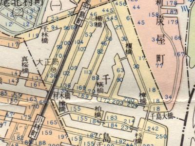 この辺の斜めの運河は今どうなってるのか?  「大阪市区分地図帖」(1966昭文社)