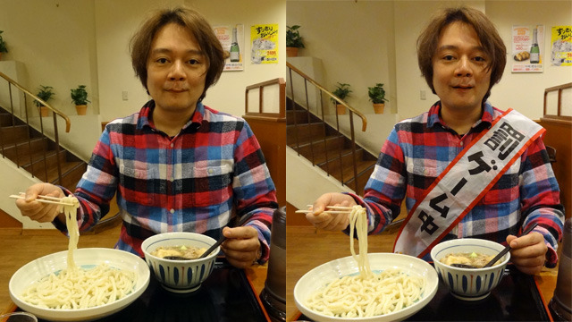 左はふつうの食事風景だが、右はむりやり食べさせられているように見える