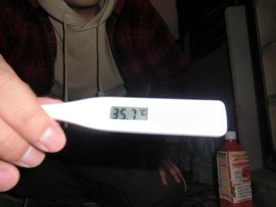 平熱は35.7℃でした。健康でなにより