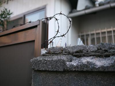 ガラスが埋め込まれている家も探してみたらあった。原始的な手法であるからこそ見た目の残忍性は高い。