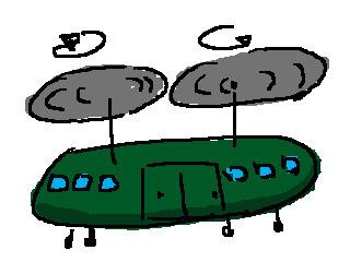 資料写真が無いので、無謀にもうろ覚えでイラストを描いた。実際はこういうヘリです。