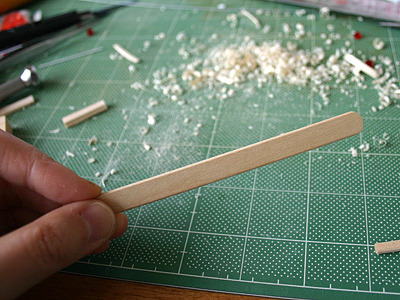 はりの部分(五だまと一だまの間の仕切り)は、アイスの棒がちょうどいい。やったね!
