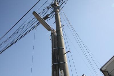 コンクリート製電柱に縛られている木の電柱