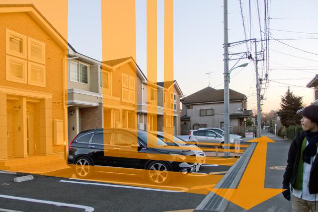 矢印の方向が短冊の長手方向。そこに住宅が建って、さらに直行する方向に、いわば「短冊化」されている。おもしろい。おもしろいよね!