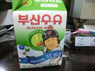 野球選手の顔が描かれた牛乳。
