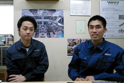 金属加工の精鋭、高木さん(左)、八木さん(右)