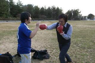 厳正な審査の結果、ボクサーは西村氏に決定(安藤さんより弱いというのが決め手となった)
