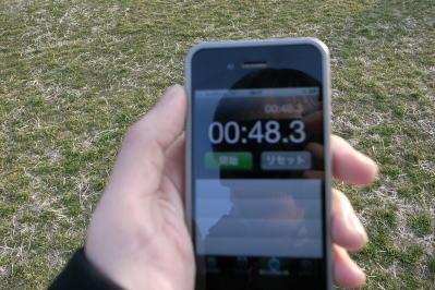 タイムは48秒。相撲に負け、タイムも大きく届かなかった