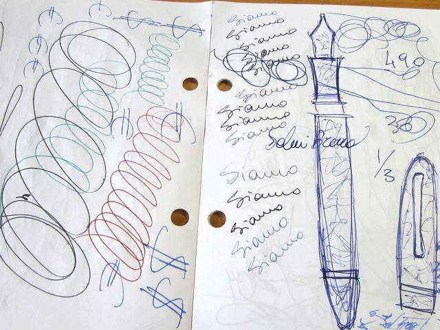 イタリアの試し書き。格調高い感じですね。万年筆の絵なんか書いちゃったりして。
