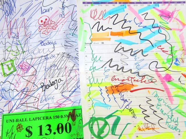 アルゼンチンの試し書き。値札にも書いちゃってるところがチャームポイント。