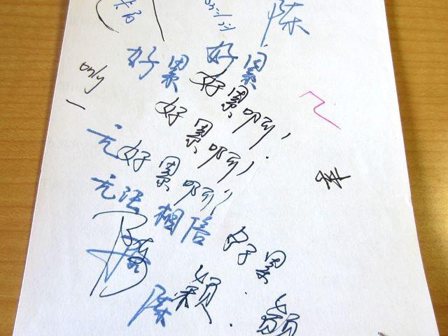 中国の試し書き。さすがに漢字が多い。「疲れた! 疲れた!……信じる事が出来ない」という意味の言葉など、後ろ向きなことも書かれているらしい…。