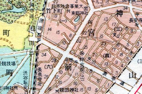 住居表示後の原宿周辺。すべて神宮前になってしまった