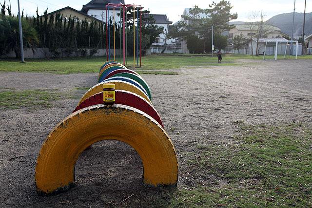 僕が卒業した小湊小学校の校庭。