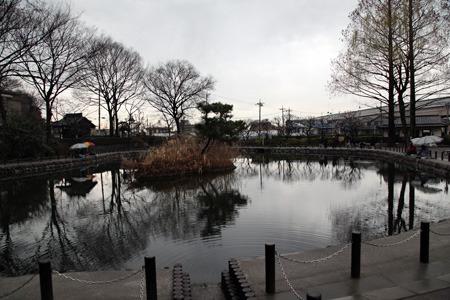 公園の小さな池では珍しく多くの人が釣り糸を垂れている