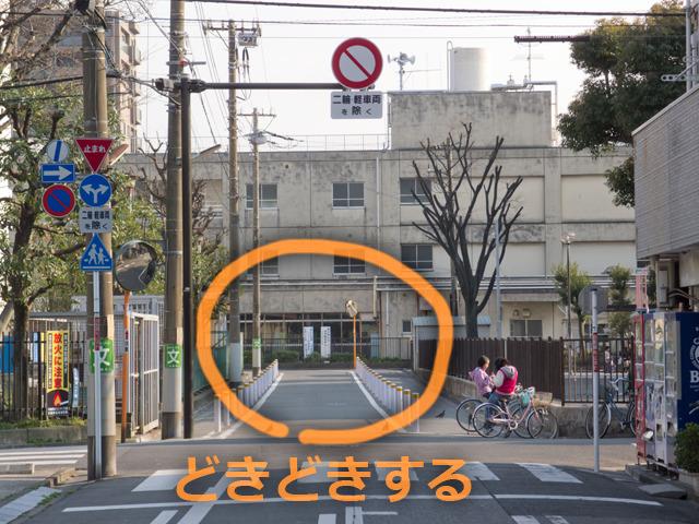 見るからに学校建築に向かって延びる道が、一見突き当たって行き止まりのようになっている!これは!きた!