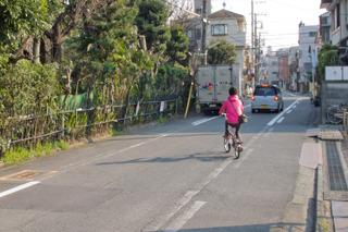 そしてその通学路にピンク色のあやしい人物!せめてジャケットの色を地味なものにすればよかった。