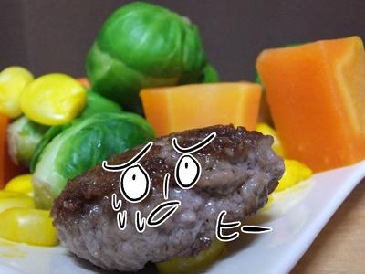 野菜に追われるハンバーグ