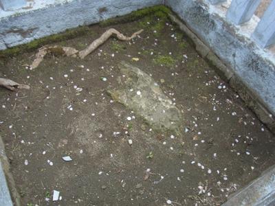 こちらが立石様。昔は60センチ以上あったらしいけど、ご利益があるとされて皆削って持って帰っちゃってたらしい。
