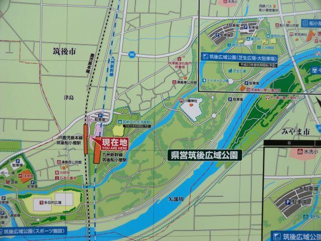 筑後船小屋駅前の地図を見るとそれもそのはず。公園内の新幹線駅は珍しい?