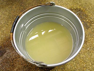 糠に少しずつ水分が染み込んでいくので、乾かないように漬け汁の海洋深層水割りを足していくそうです。